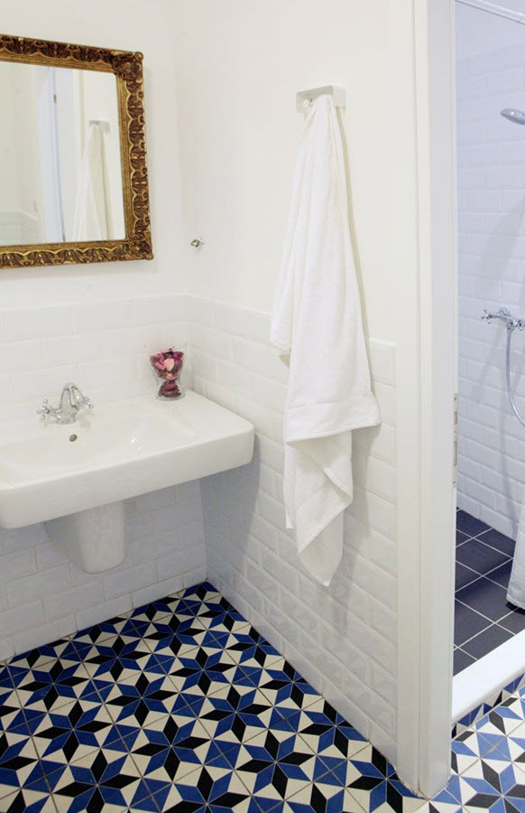 36 Blue And White Bathroom Floor Tile Ideas And Pictures
