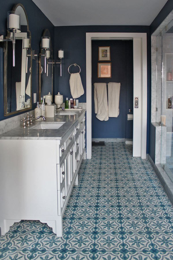 Bathroom Floor Tiles Blue : Blue and white bathroom floor tile ideas pictures