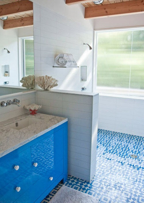 Blue And White Bathroom Floor Tile Ideas And Pictures - 4x4 bathroom tile designs
