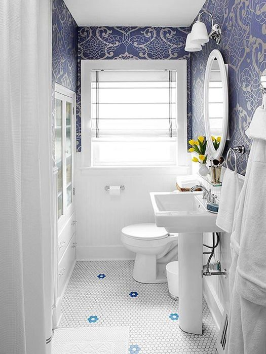 Blue And White Bathroom Floor Tile 3 4