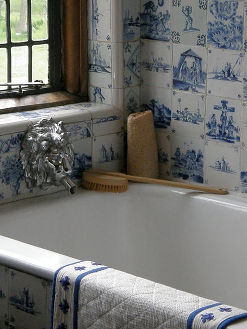 Cool Blue And White Bathroom With Check Floor And Freestanding Bath