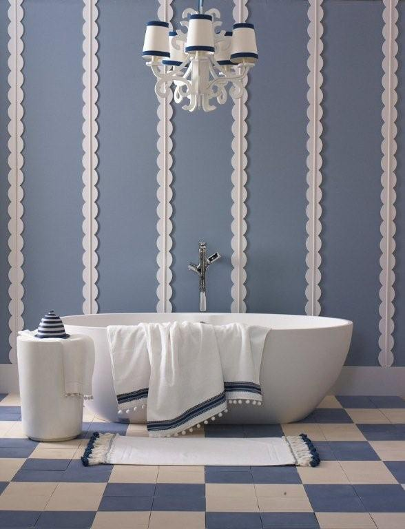 Awesome 13 Inspirational Examples Of Blue And White Bathrooms  Blue Tiles