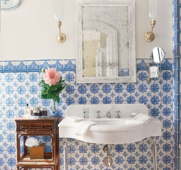 Bathroom Tile Ideas Blue And White blue and white bathroom tile ideas and pictures