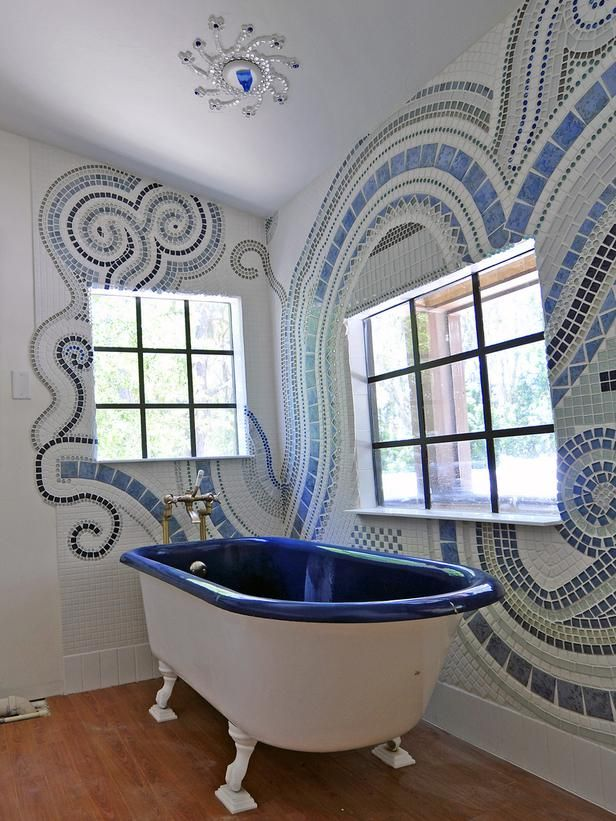 36 blue and white bathroom tile ideas and pictures for Blue and black bathroom ideas