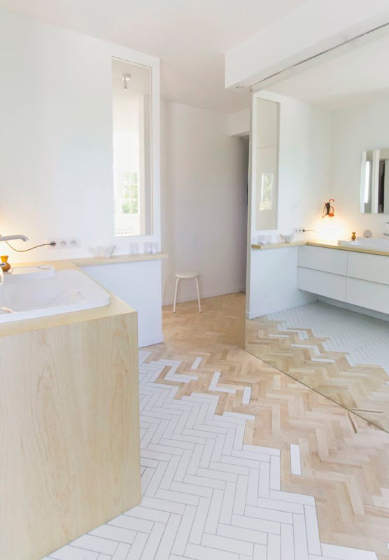 Creative Brown And White Tiles Also Look Good Together When It Comes To Bathroom Tile Patterns Use White Tiles In Your Sink And Use A Wooden Finish For Your Floor That Is Similar To Your Wooden Finish Cabinet This Chineseinspired Bathroom Tile