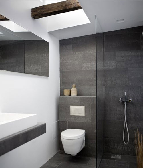 29 gray and white bathroom tile ideas and pictures for Small ensuite bathroom