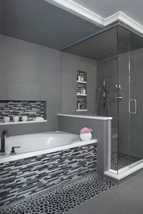29 gray and white bathroom tile ideas and pictures for Bathroom designs gray