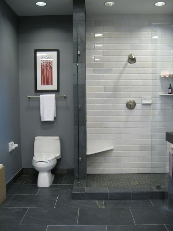 29 gray and white bathroom tile ideas and pictures for Bathroom grey tiles ideas