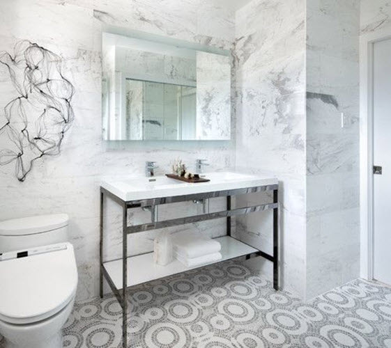 Grey And White Bathroom Floor Tiles 5 6