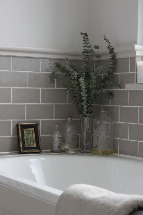 Large bathroom subway tile joy studio design gallery for Bathroom grey tiles ideas