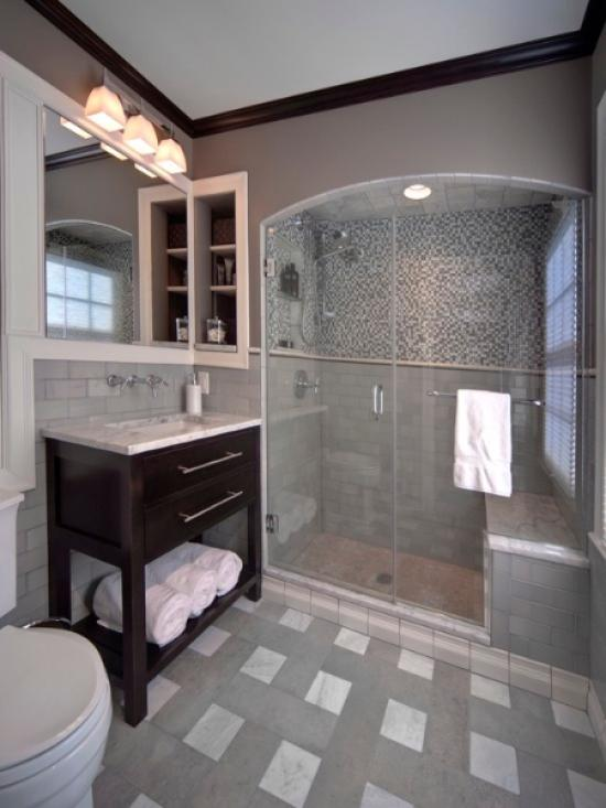 Bathroom Ideas For Grey : Grey and white bathroom tile ideas pictures