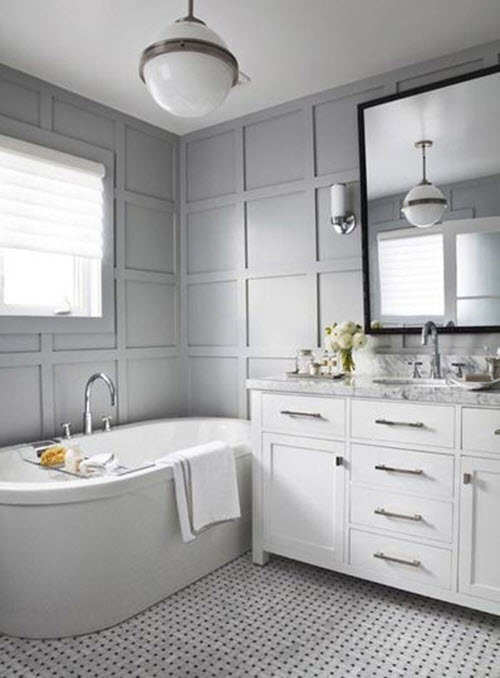 28 grey and white bathroom tile ideas and pictures for Grey white bathroom ideas