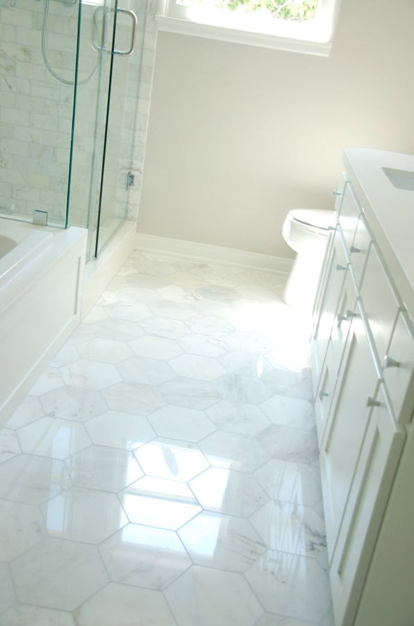 White tiles floor the image kid has it for Large bathroom tiles in small bathroom