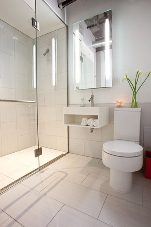 Original Sleek Bathroom With Large White Subway Tiled Walls With Gray Grout