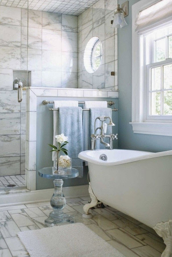 Creative Larger Rectangular Tiles Around A White Alcove Tub Ours Will Be Gray