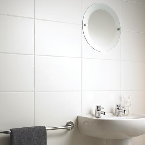Luxury White Bathroom  White Tile And Gray Walls In A Bathroom With A