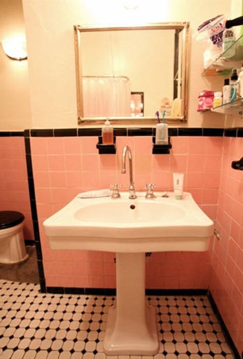 33 Pink And Black Bathroom Tile Ideas And Pictures: pink bathroom ideas pictures