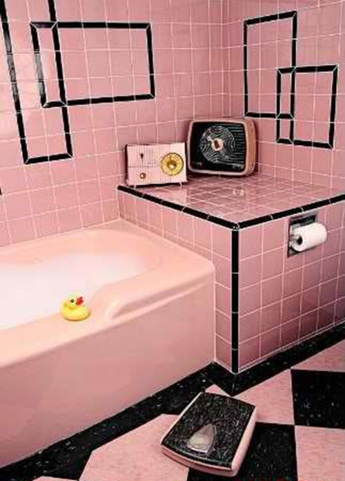 33 Pink And Black Bathroom Tile Ideas