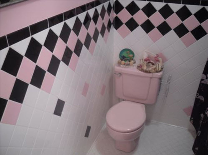 33 pink and black bathroom tile ideas and pictures for Pink black bathroom ideas