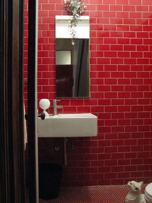 39 red bathroom tile ideas and pictures for Red bathroom designs