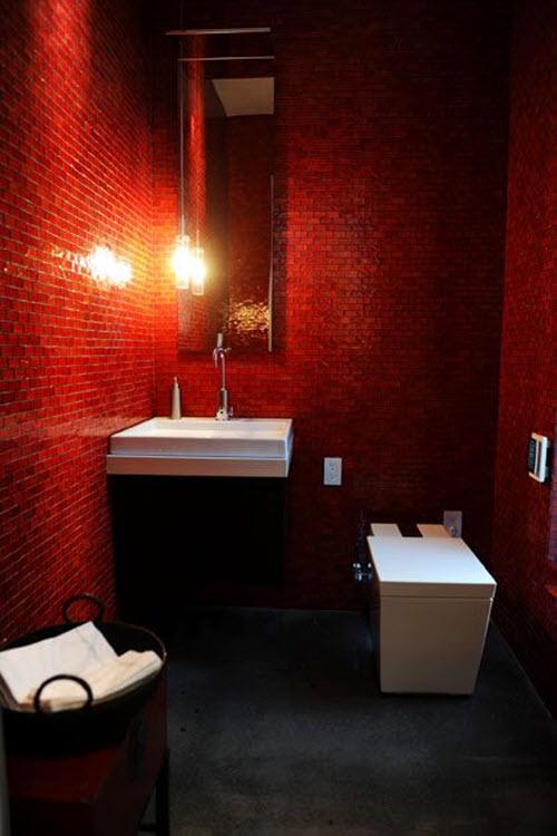 Red Bathroom Floor Tiles