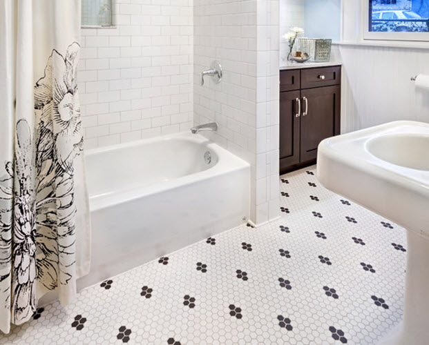 Cool 35 Vintage Black And White Bathroom Tile Ideas And Pictures