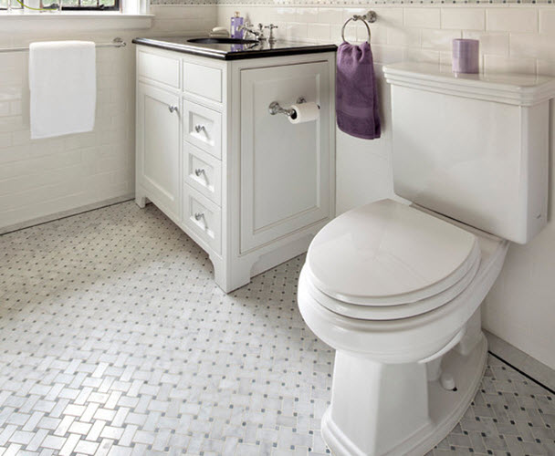 Retro Black White Bathroom Floor Tile 18 19 20