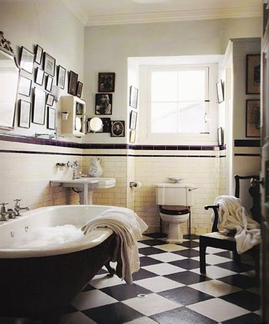 31 retro black white bathroom floor tile ideas and pictures for Bathroom designs classic