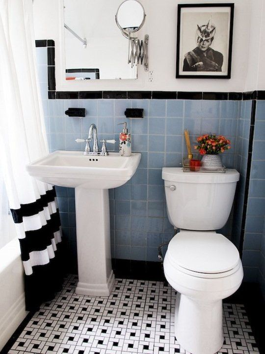 31 retro black white bathroom floor tile ideas and pictures for Black tile bathroom designs