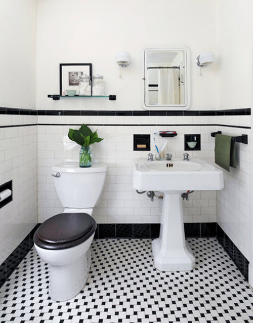 31 retro black white bathroom floor tile ideas and pictures. Black Bedroom Furniture Sets. Home Design Ideas