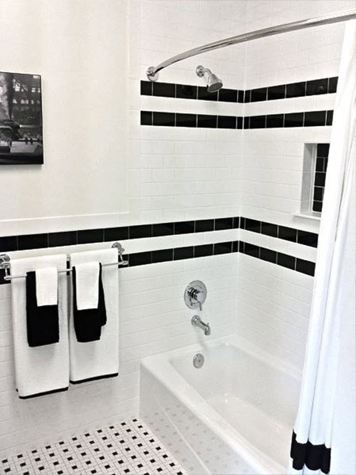 Classic Black And White Bathroom Designs : Retro black white bathroom floor tile ideas and pictures