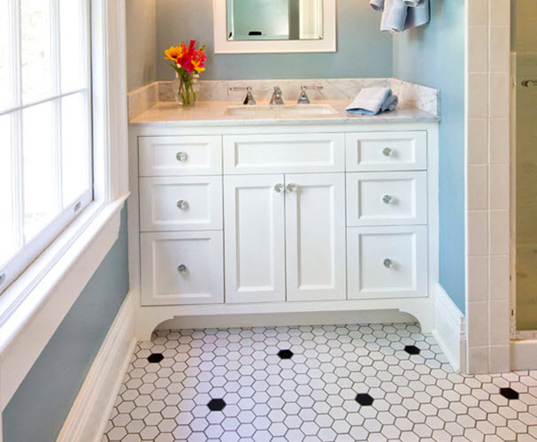 31 retro black white bathroom floor tile ideas and pictures for Vintage bathroom tile for sale