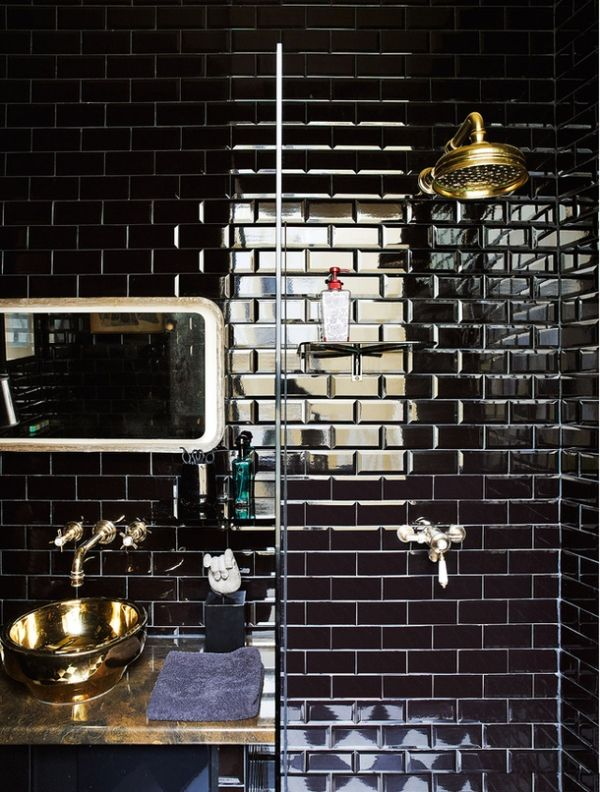 Brilliant Stunning Black And White Bathroom Boasts A Walkin Shower Featuring A Steel And Glass Enclosure And A Polished Nickel Exposed Plumbing Sprayer And Rain Shower Head Mounted On White Linear Backsplash Tiles Over Black Hex Floor Tiles