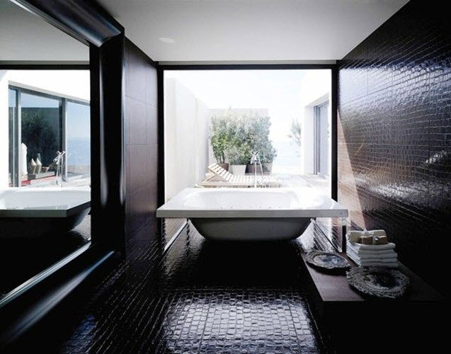 Black Glitter Tiles Bathroom