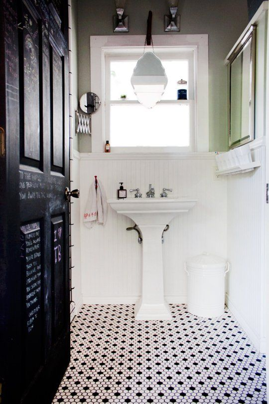 27 Small Black And White Bathroom Floor Tiles Ideas And Pictures