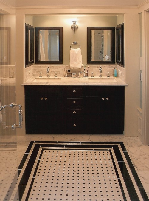 Floor Tile Design Ideas For Renovate Small Bathroom ~ Small black and white bathroom floor tiles ideas
