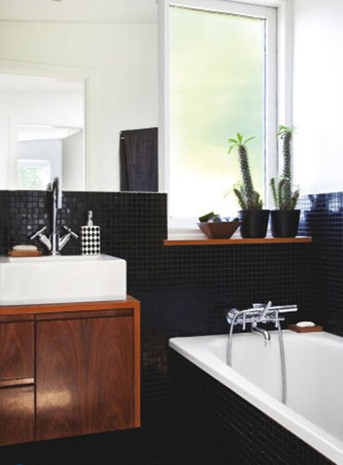 Beautiful Tiles Industrial Bathroom Black Tiles Black Marble Tile  Contemporary
