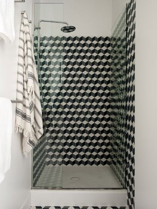 30 small black and white bathroom tiles ideas and pictures for Design your own bathroom tiles