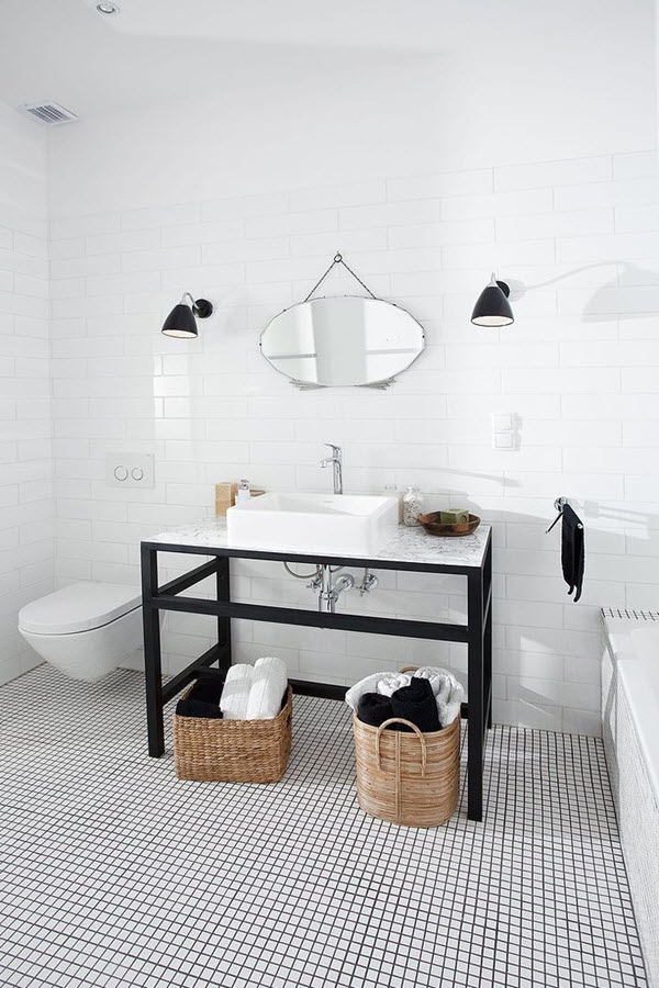 30 Small Black And White Bathroom Tiles Ideas And Pictures