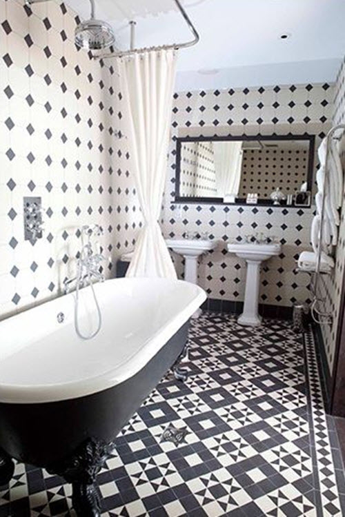 21 victorian black and white bathroom floor tiles ideas for Monochrome bathroom designs