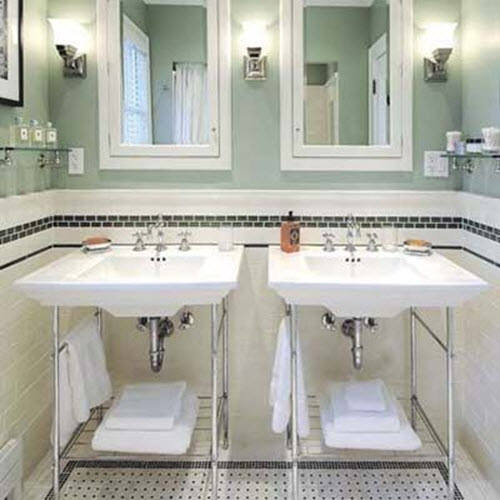 35 vintage black and white bathroom tile ideas and pictures for Retro bathroom designs
