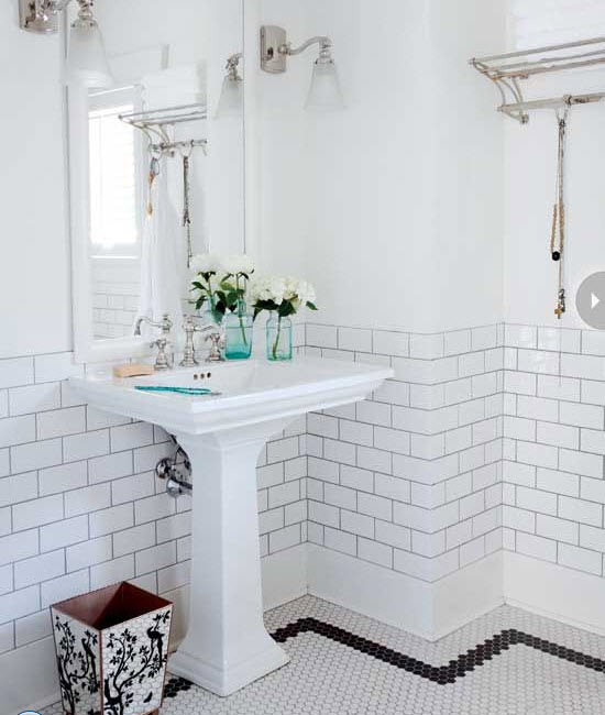 Vintage Black And White Bathroom Tile 29  30 31 35 Ideas Pictures