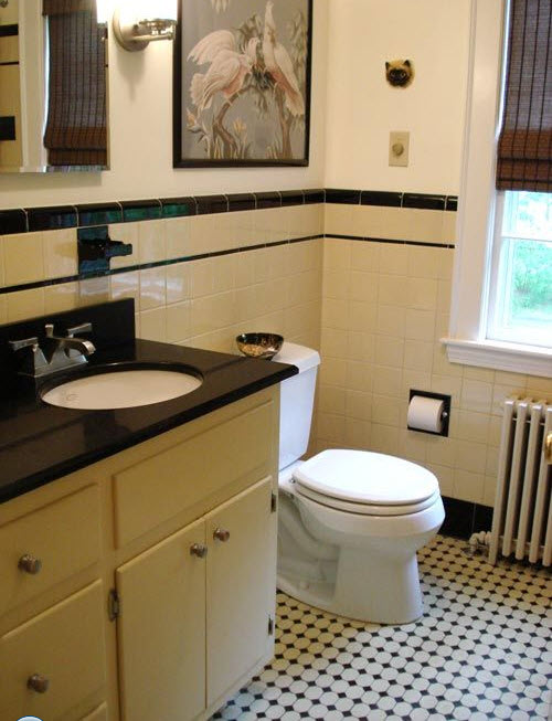 35 vintage black and white bathroom tile ideas and pictures for Vintage bathroom photos