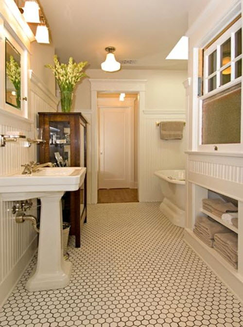 35 vintage black and white bathroom tile ideas and pictures for Farmhouse bathroom tile design ideas