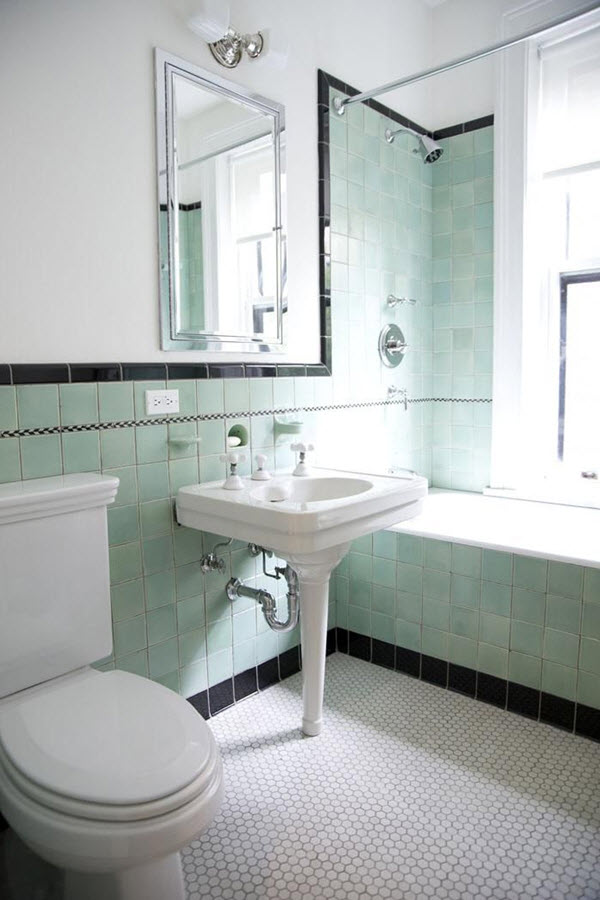 35 vintage black and white bathroom tile ideas and pictures for Vintage bathroom ideas