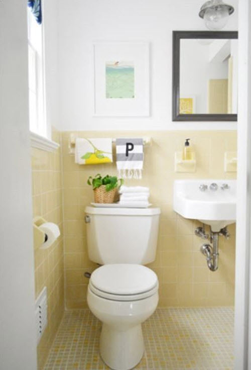 Interesting grey bathroom paint colors completed with for Bathroom yellow paint