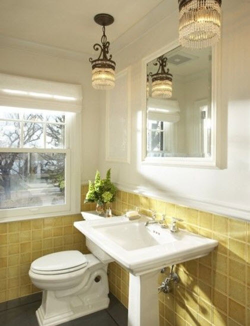 33 vintage yellow bathroom tile ideas and pictures for Bathroom yellow paint