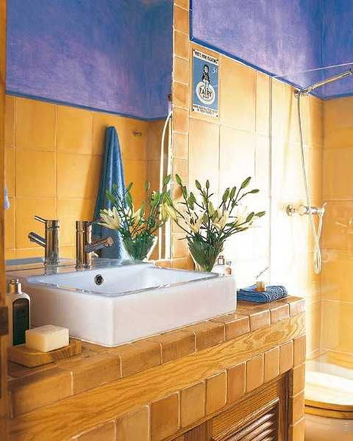 Blue And Yellow Bathroom Decor: 33 Vintage Yellow Bathroom Tile Ideas And Pictures
