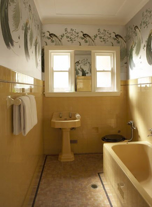 33 vintage yellow bathroom tile ideas and pictures for Bathroom ideas 1940