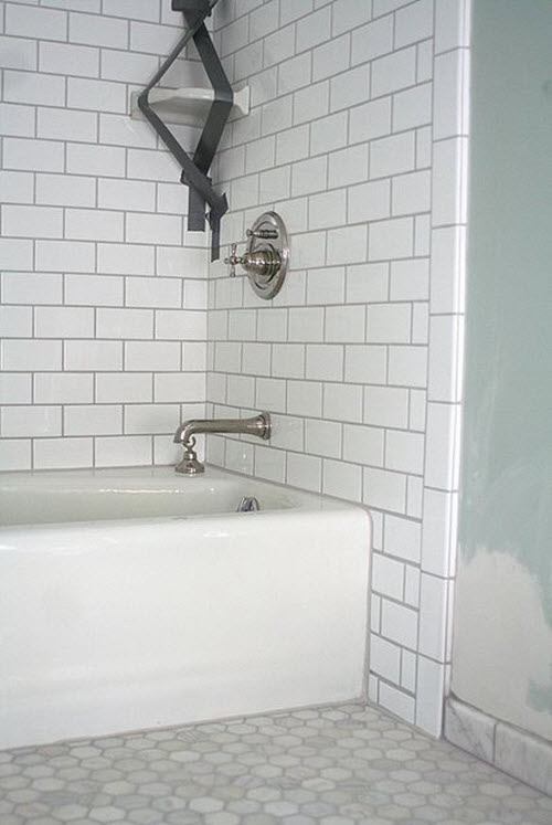 Bathroom tiles white and grey